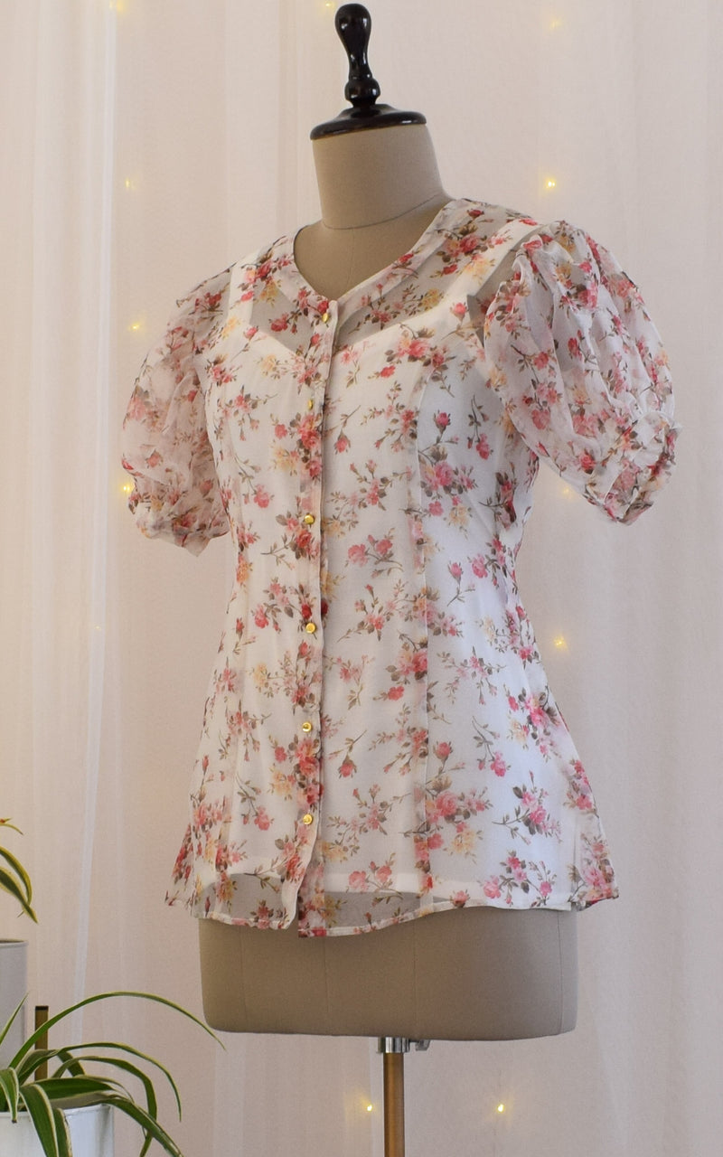 White Floral Fluffed Sleeve Organza Shirt Top