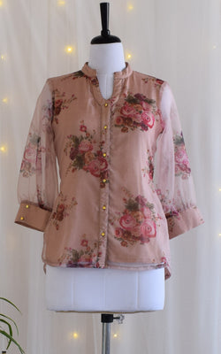 Dusty Pink Floral Organza Shirt Top