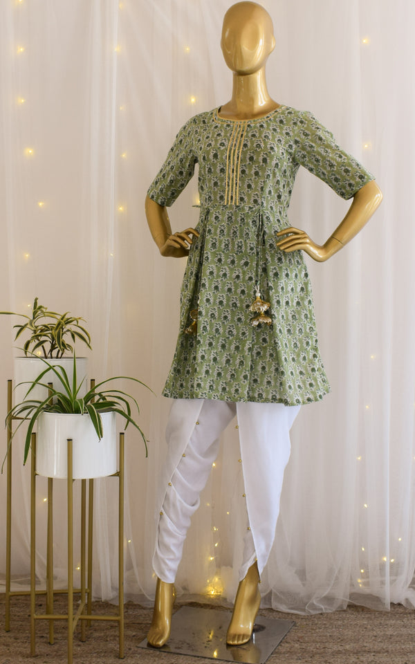 Green Block Print Peplum Top & Dhoti Set
