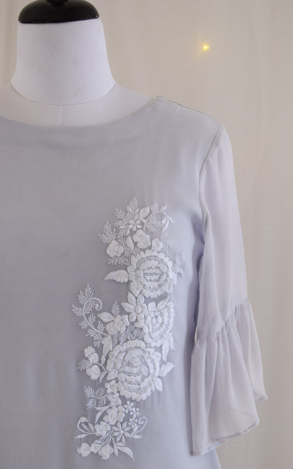 Powder Blue Embroidered Top