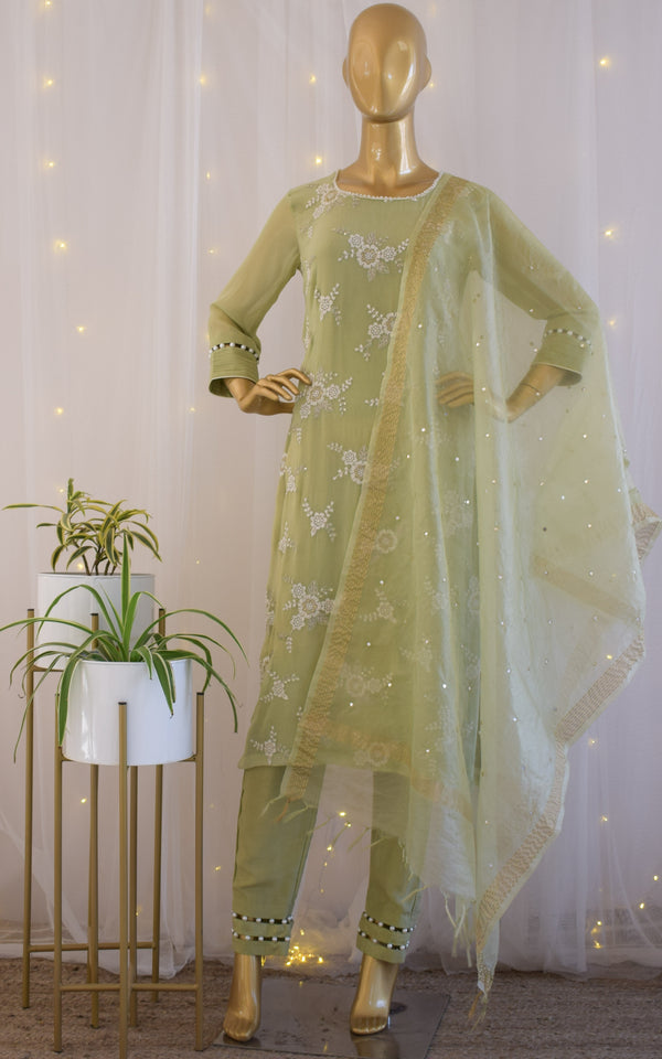 Sage Green Resham-Work Kurta Set with Mirrorwork Organza Dupatta