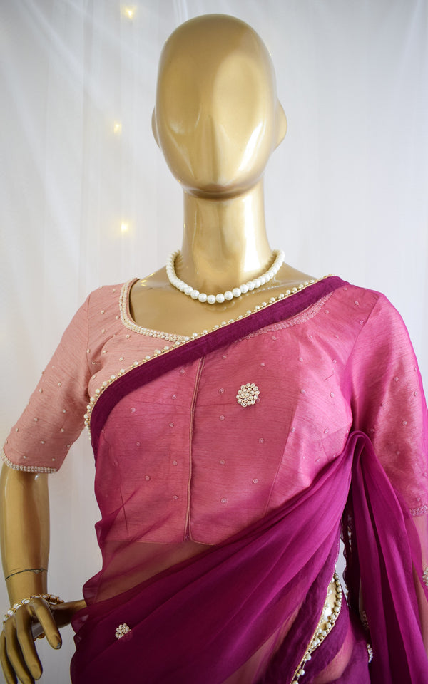 Wine Pearl Work Organza Saree