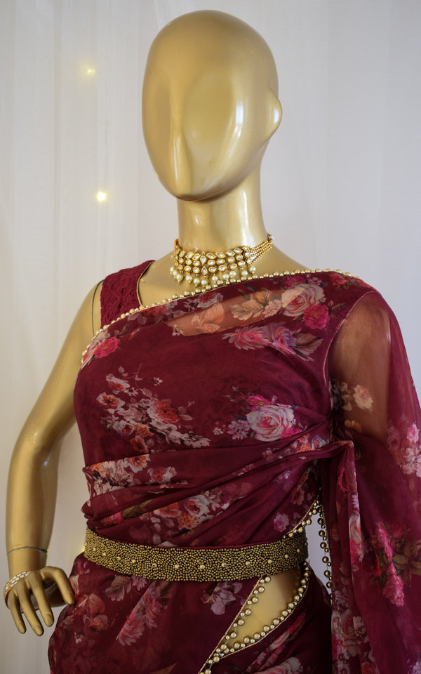 Wine Floral Organza Saree with Embellished Belt