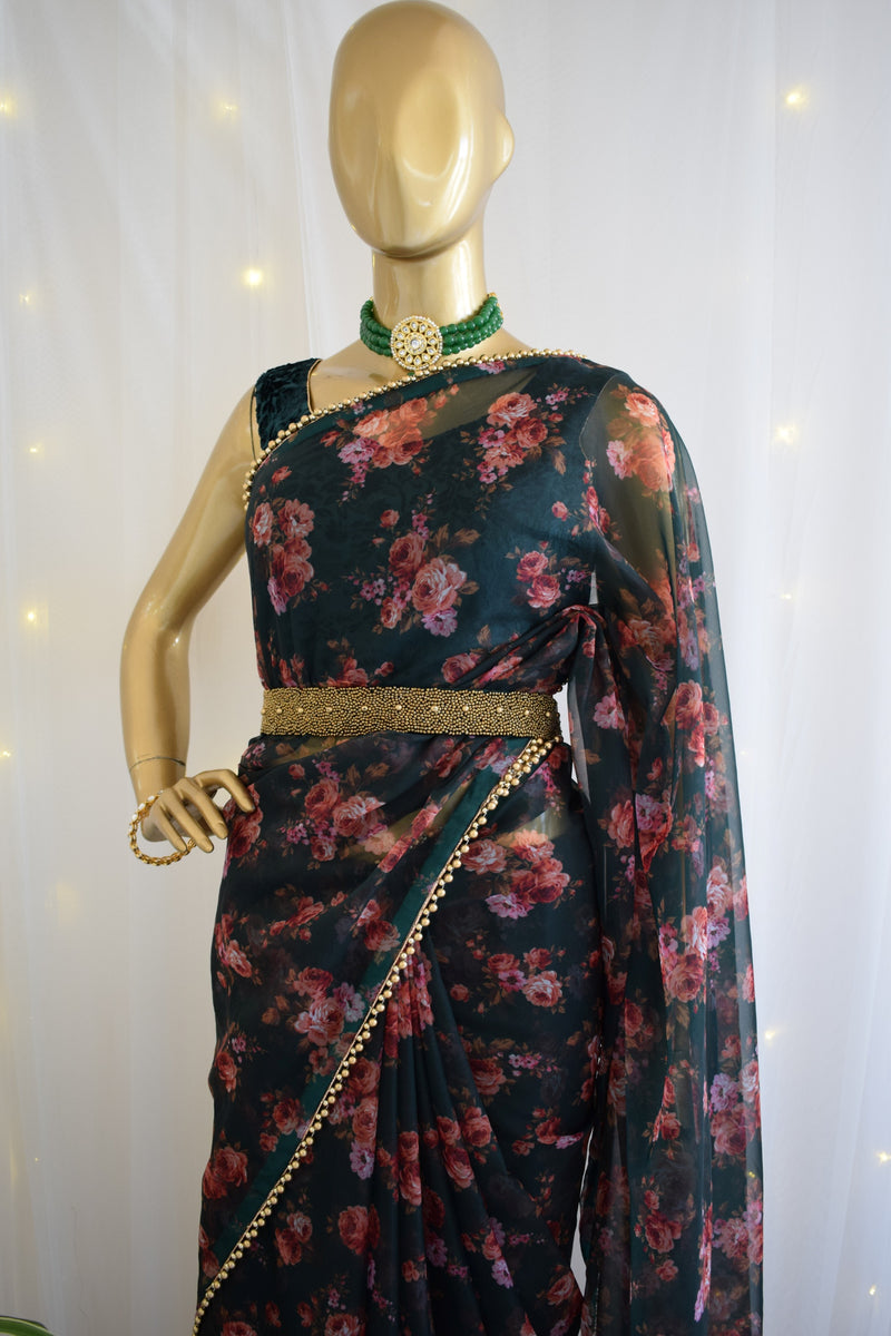 Bottle Green Floral Organza Saree with Embellished Belt