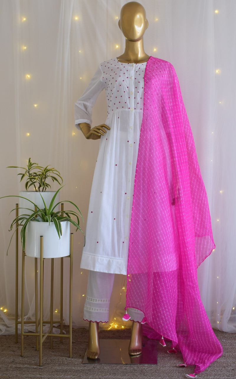 White Mul-mul Kurta Set with Rani Leheriya Dupatta