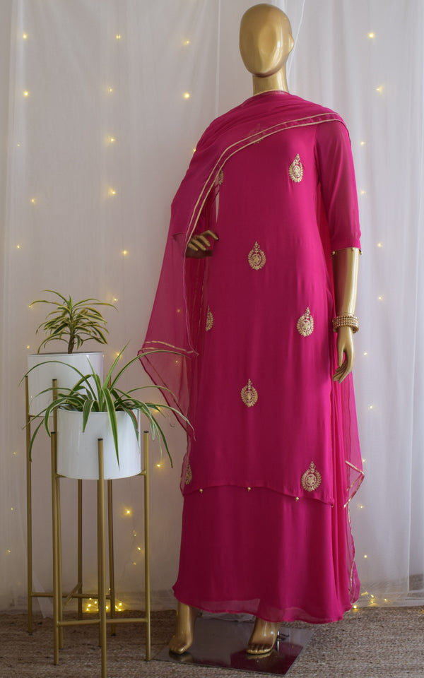 Fuschia Pittan Dress with Chiffon Dupatta