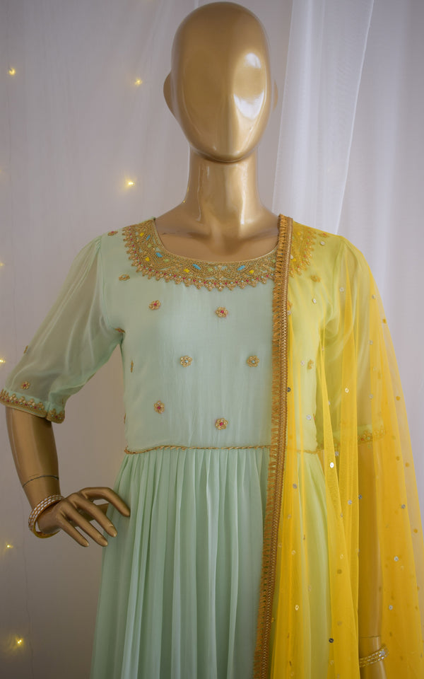 Mint Green Shibori Anarkali