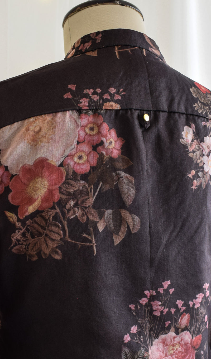 Black Floral Organza Shirt Top