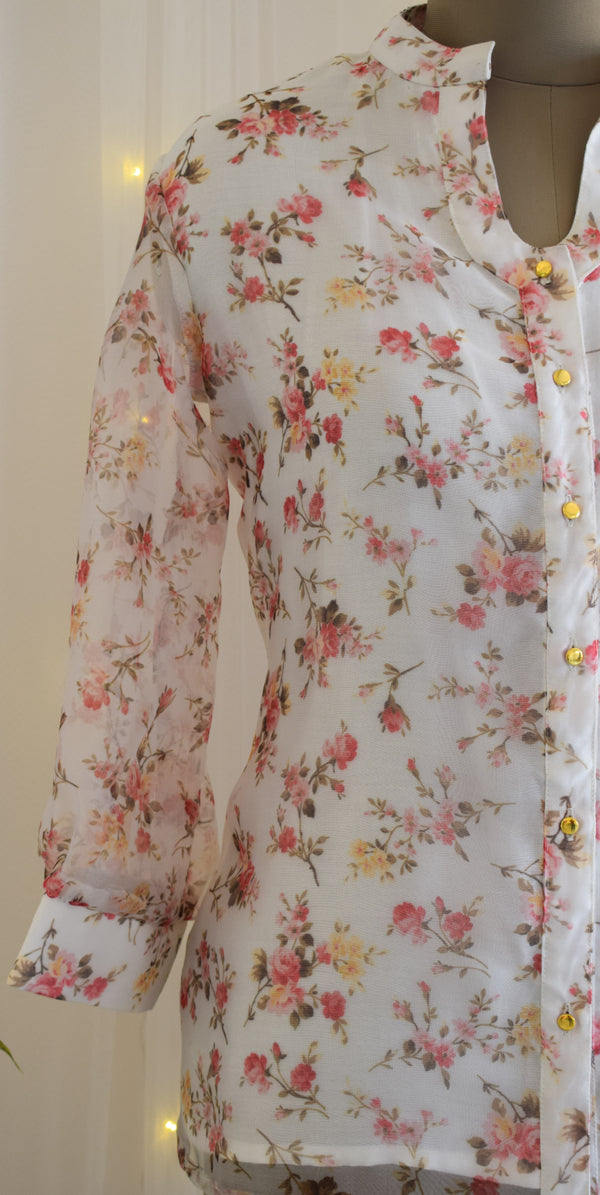 White Floral Organza Shirt Top