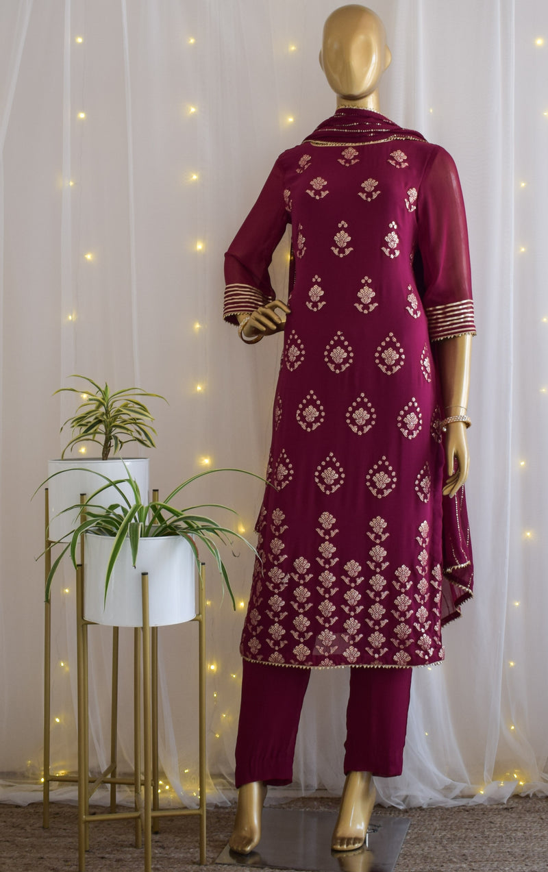 Wine Gota Foil Kurta Set with Mukaish Dupatta