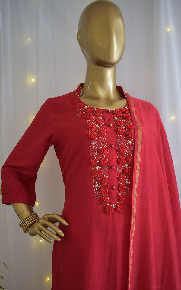 Cherry Red Handwork Kurta Set