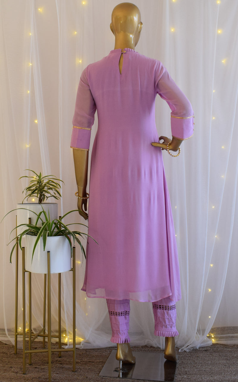 Lavender Handwork Tunic and Pant Set