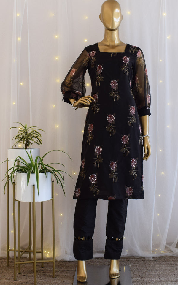 Black Rose Print Organza Kurta Set