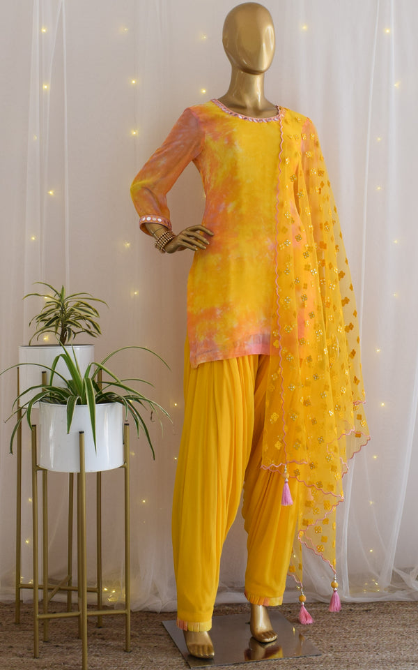 Yellow Mirrorwork Shibori Patiala Set