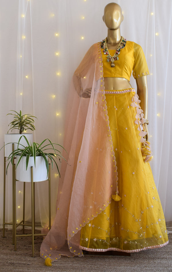 Yellow Organza Gota Patti Lehenga