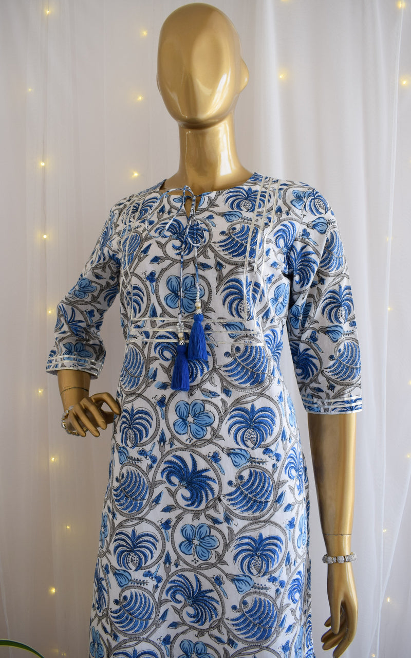 Udaipur Blue Block print Kurta Set
