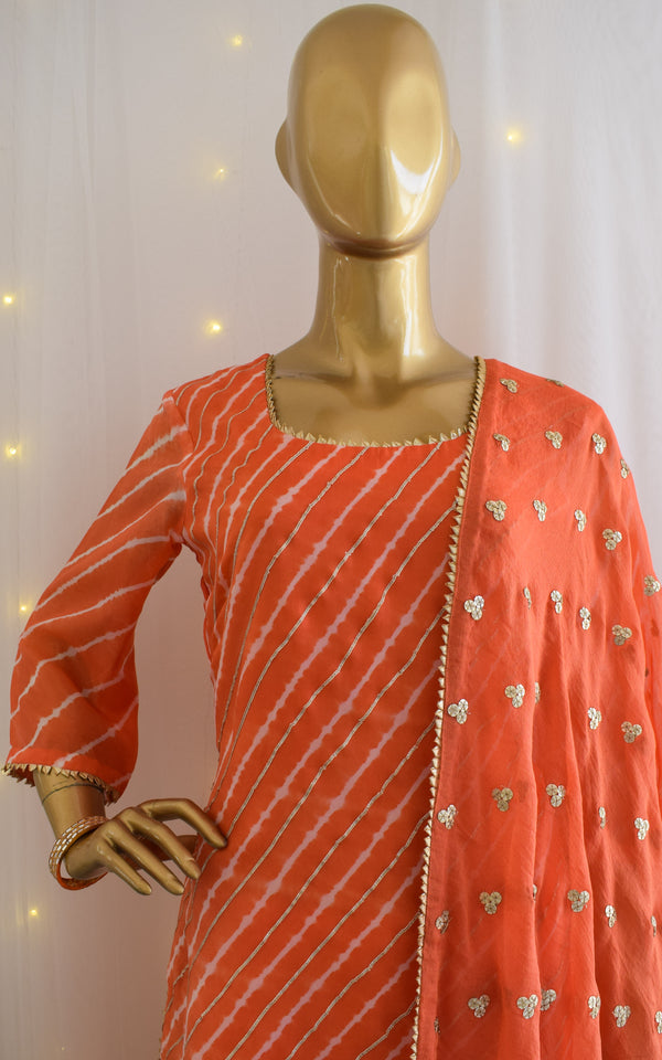 Peach Leheriya Sharara Set