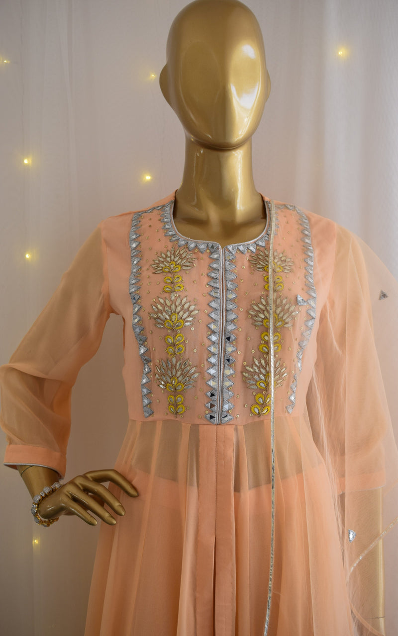 Peach Gota Patti Anarkali Tunic and Palazzo Set