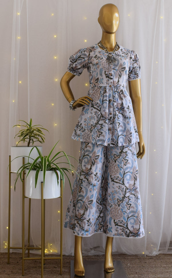 Vintage Floral Co-ord Set with Flared Pants