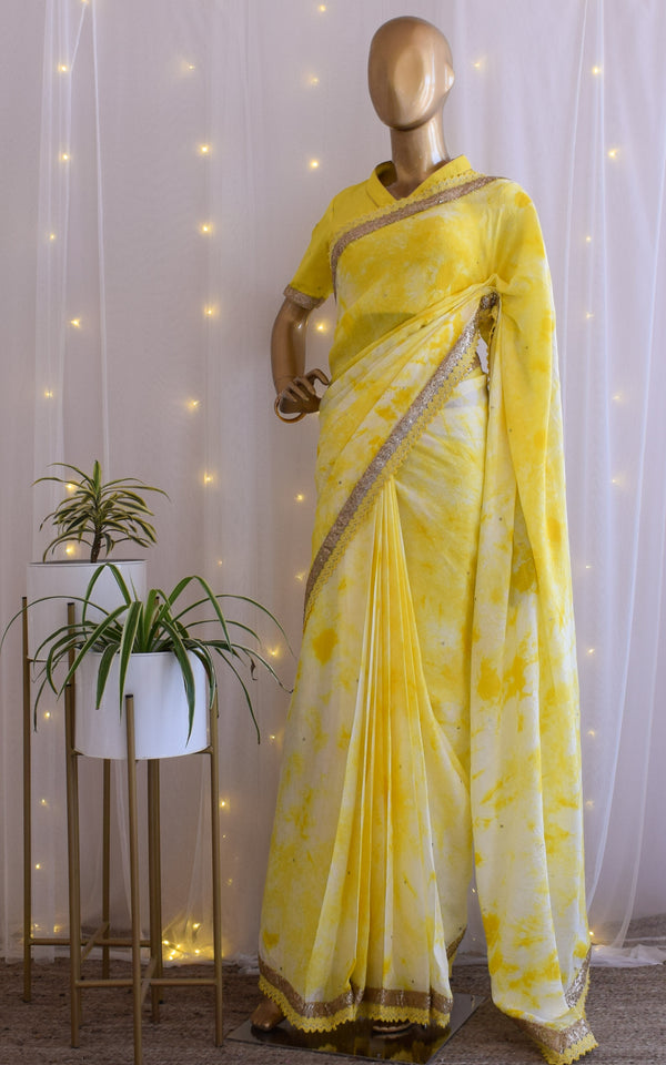 Yellow Off-White Shibori Saree