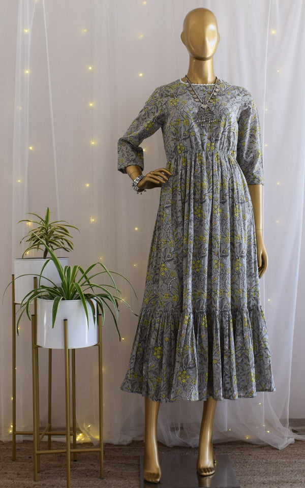 Grey Vintage Block Print Dress