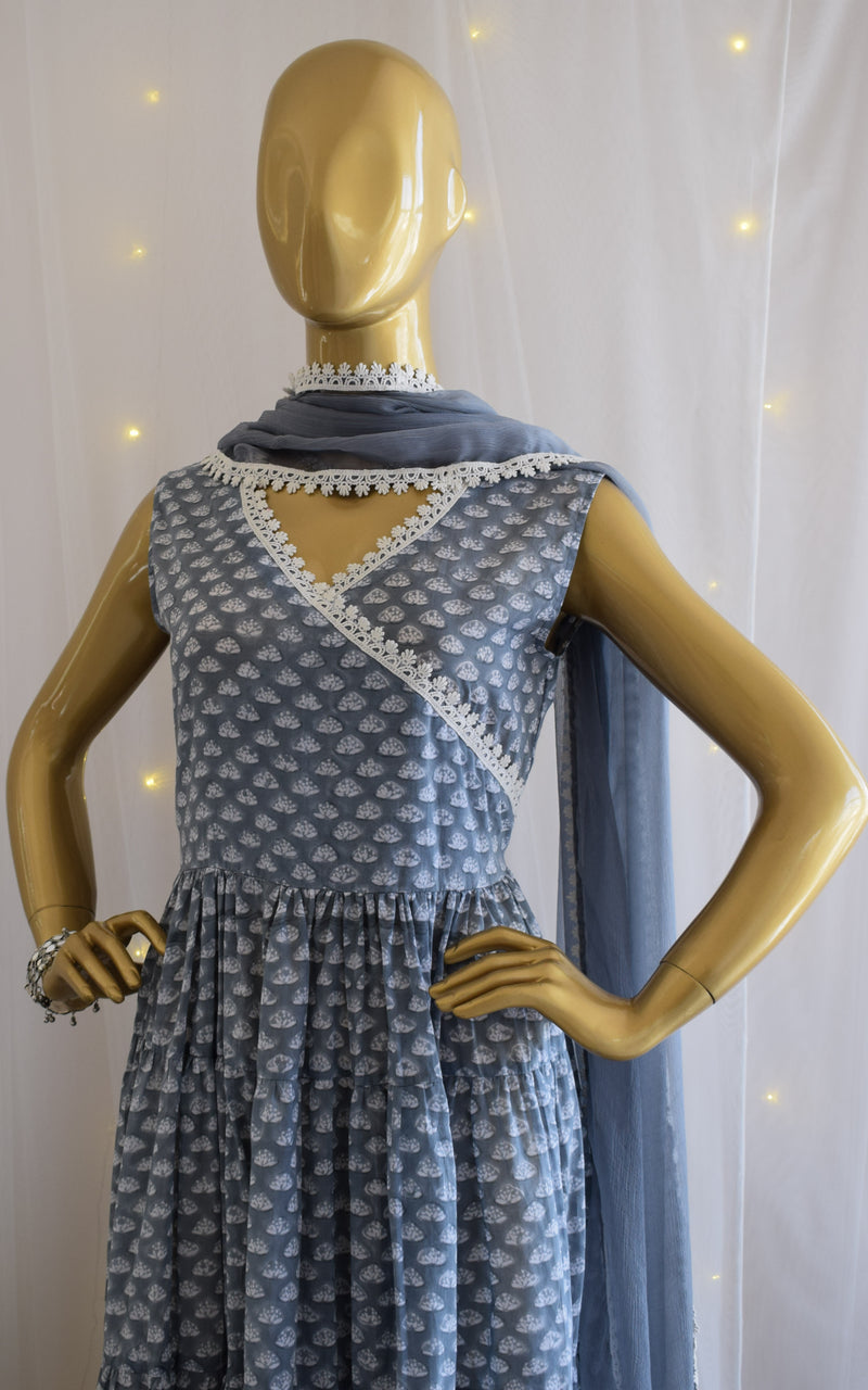 Grey Block Print Tierd Anarkali