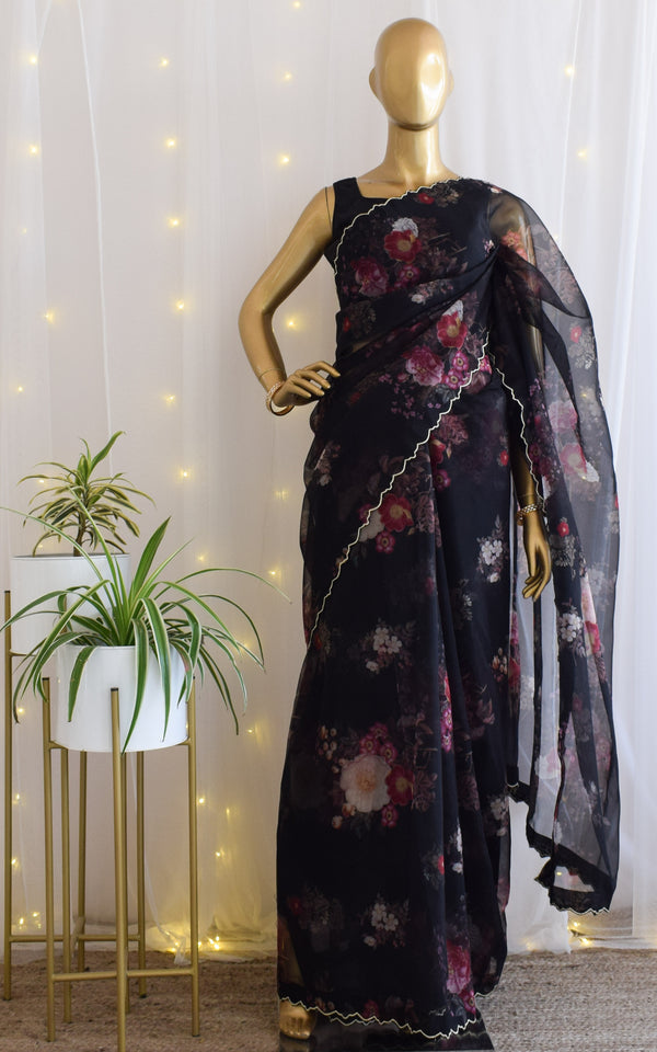 Black Floral Organza Saree