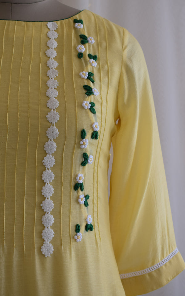 Light Yellow Embroidered Pin Tucks Tunic