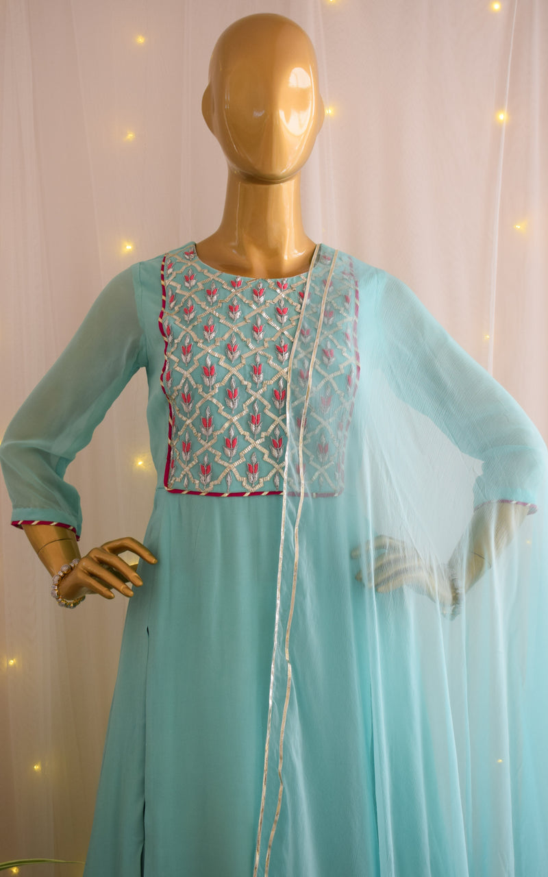 Sea Blue Handwork Kurta and Skirt Set