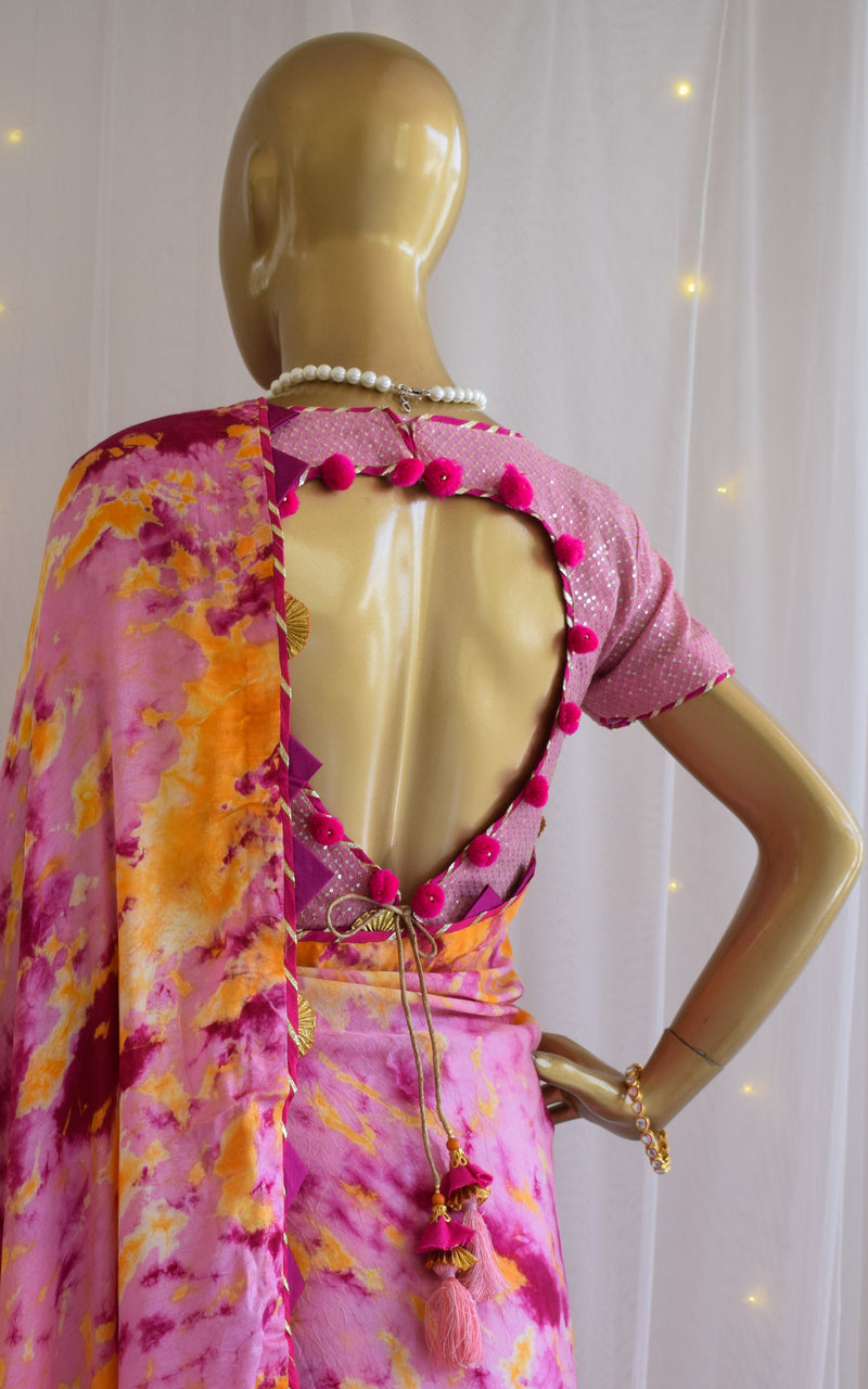 Pink-Yellow Shibori Saree