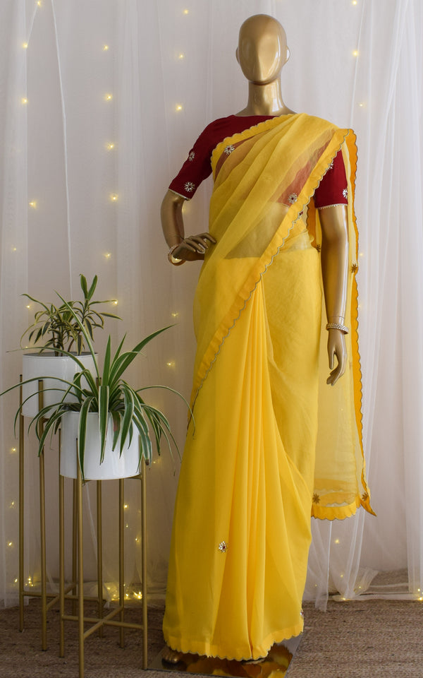 Yellow Gota Patti Organza Saree