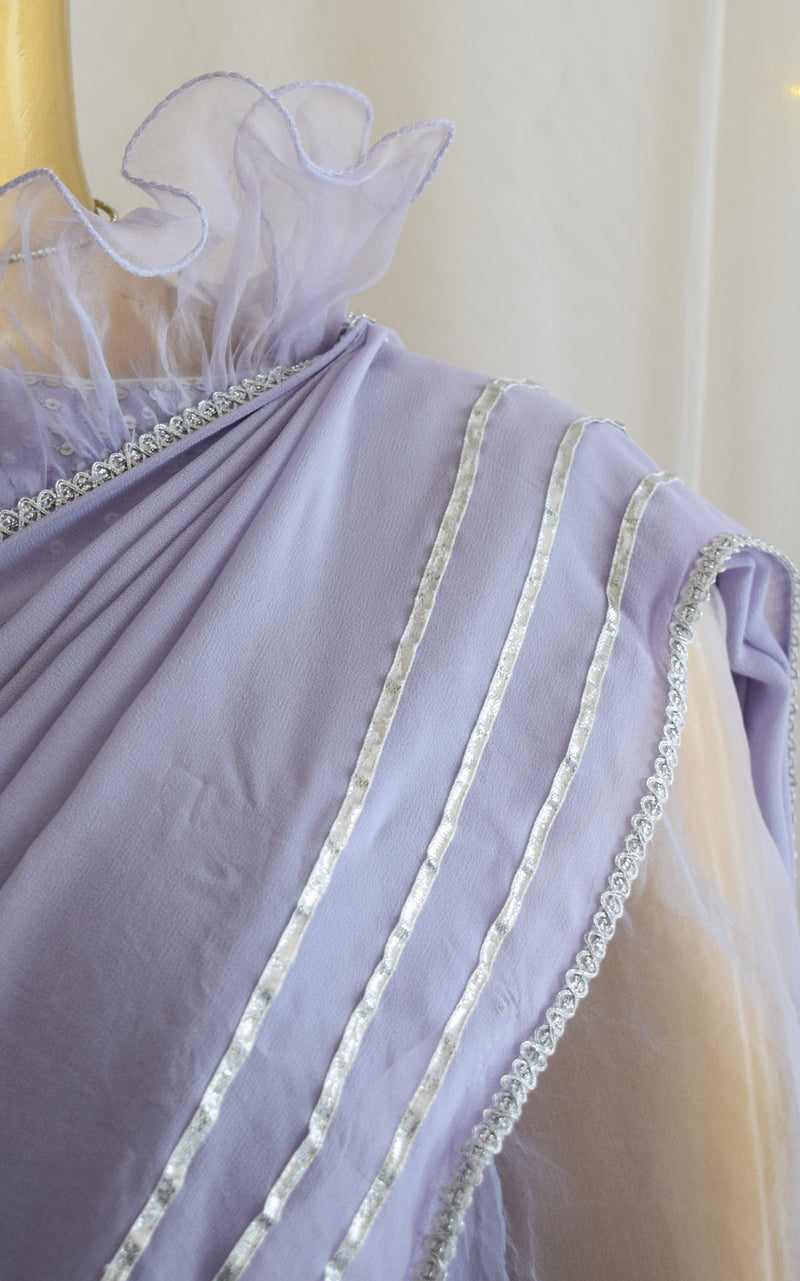 Lilac Ruffled Saree with Sequinned Blouse
