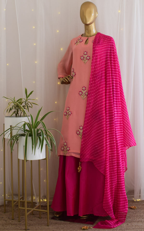 Pink Handwork Kurta and Skirt Set with Leheriya Dupatta