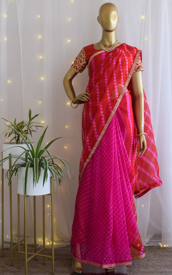 Kota Silk Leheriya Saree with Red Gota Patti Blouse