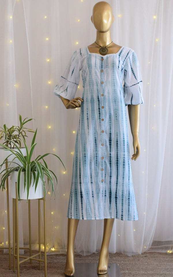 Breeze Striped Shibori Midi Dress