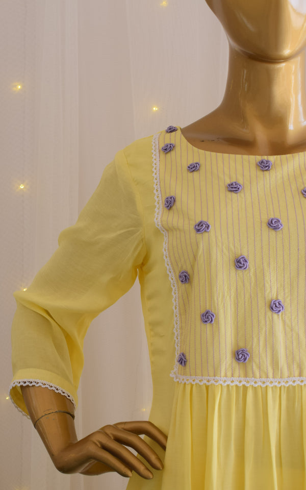 Yellow Embroidered Tunic & Pant Set