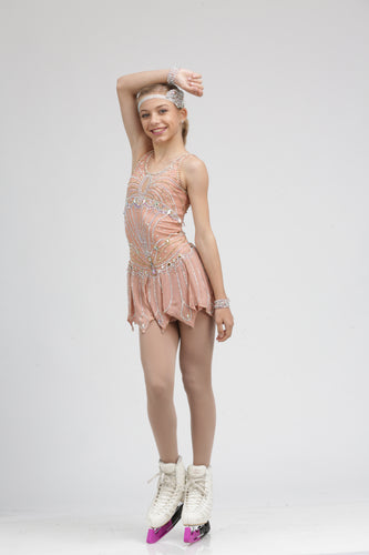 Roaring 20's Pink Flapper Figure Skating Dress by Tania Bass