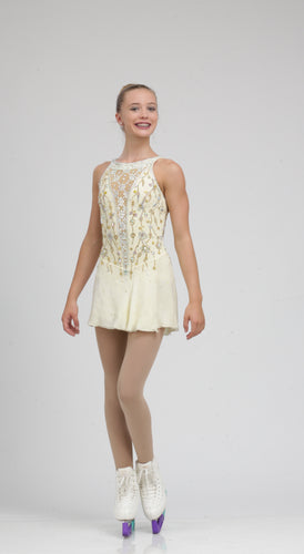 Timeless Off White Figure Skating Dress by Tania Bass