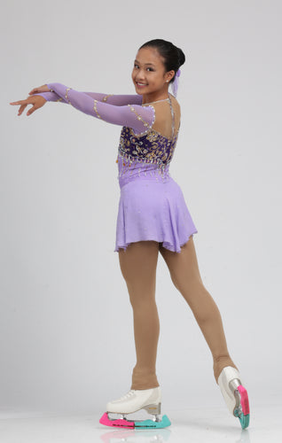 Long Sleeve Purple and Black Figure Dress Ice Skating Dress by Tania Bass