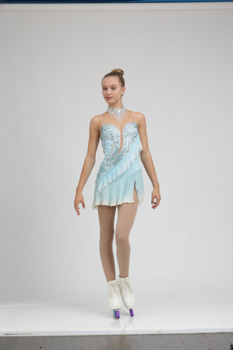 Tania Bass Signature ice skating dress Figure skating dress soft diagonal drape, intricate detailing, extensive coverage using Swarovski crystals, and a silk skirt.