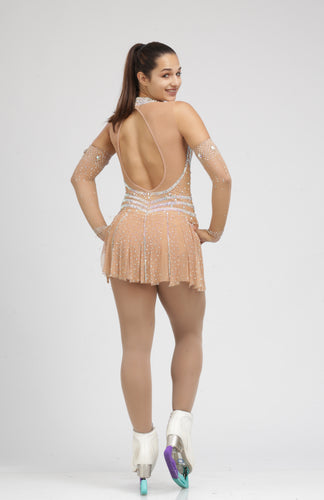 Peach Colored Ice skating dress figure skating dress by Tania bass