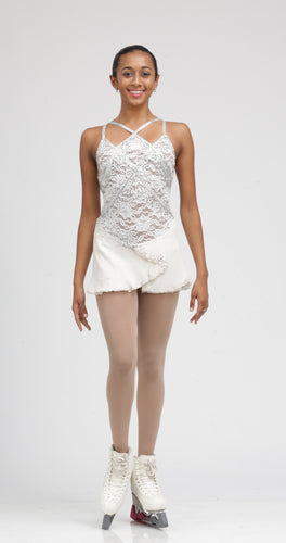 White lace ice skating dress by Tania Bass, Available in White, Fuchsia, Red, Black