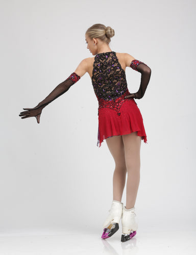 Elegant Red and Black Lace Ice Skating Dress figure skating dress by Tania Bass