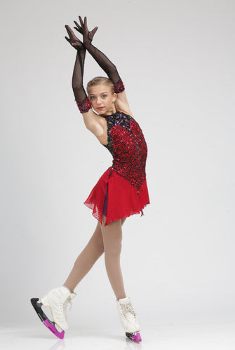Elegant Red and Black Lace Ice Skating Dress by Tania Bass