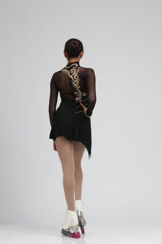 Black Ice Skating Dress Figure Skating Dress by Tania Bass