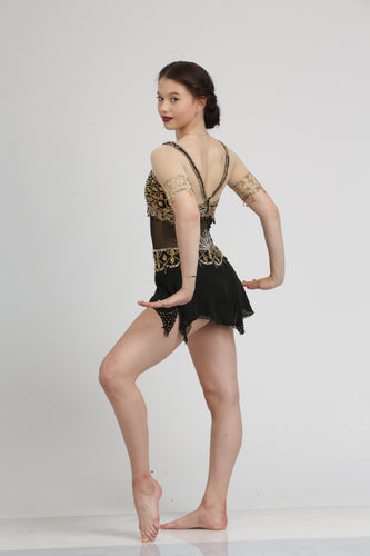 Gold Embroidered Black Figure Skating Dress by Tania Bass