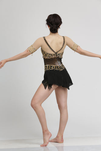 Gold Embroided Black Figure Skating Dress by Tania Bass