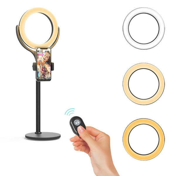 Dimmable Ring Light with Phone Holder USB Night Light Desktop Light