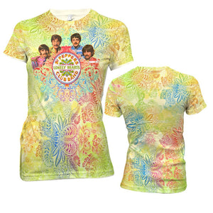 The Beatles Green Paisley - Mens White Sublimated T-Shirt
