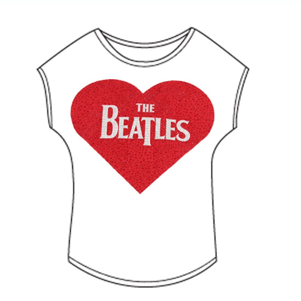 The Beatles Heart Logo - Womens White T-Shirt